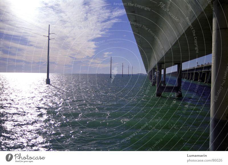 Water Ocean Concrete Bridge Electricity Manmade structures Mixture Transmission lines Florida Massive Bridge pier