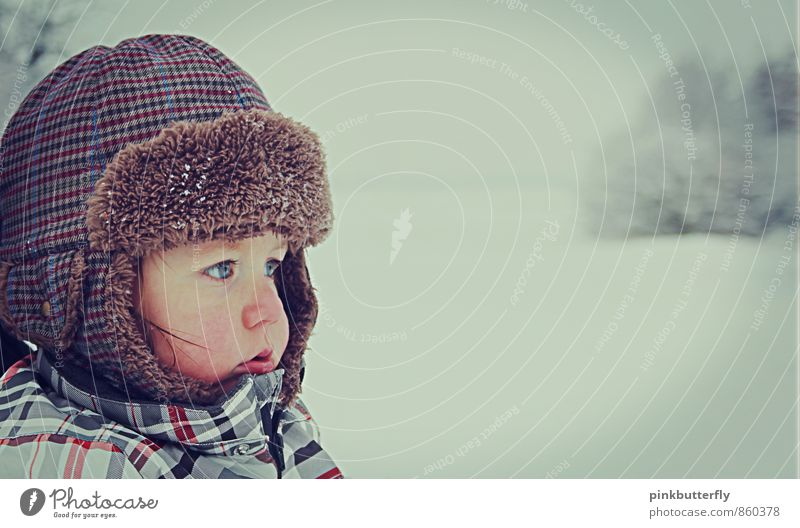 Human being Nature White Tree Loneliness Landscape Calm Winter Cold Face Eyes Snow Boy (child) Brown Head Dream