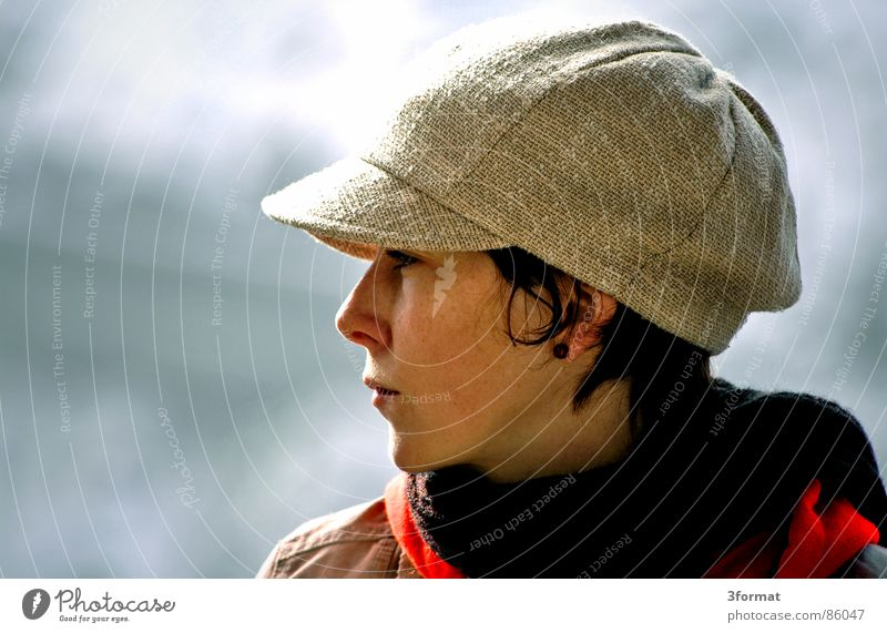 Woman Face Calm Freedom Mouth Perspective Near Cap Earring Familiar Baseball cap