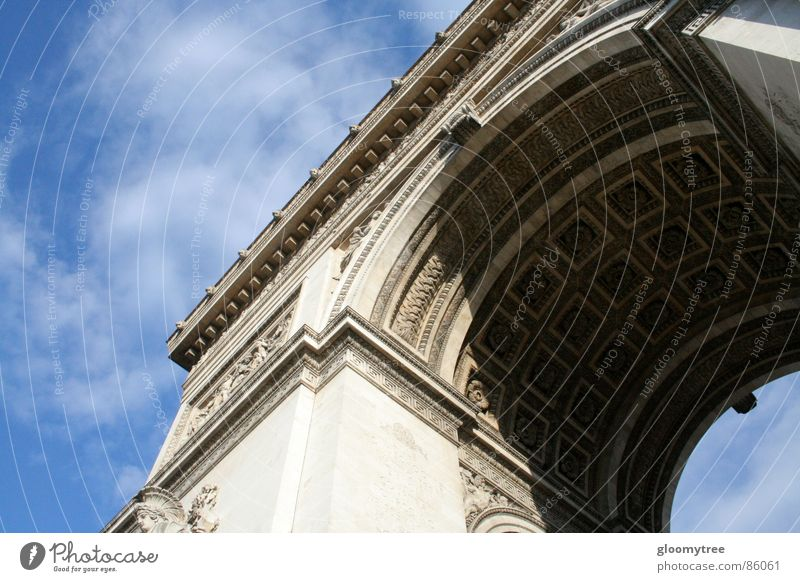 Arc de Triomphe Ark Europe Paris Ornate Landmark Monument day large circular letter Tall overhang daytime triomphe classical architecture style of architecture