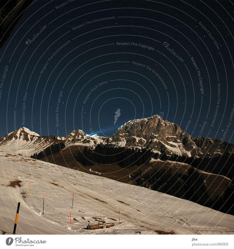 Sky Green Forest Snow Grass Mountain Lighting Stars Back Tall Clarity Point Well Fir tree Border Fence