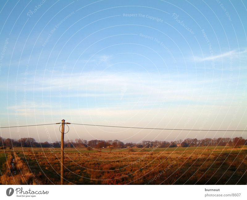 Landscape of Bremen Transmission lines Bog Winter Cold Sky