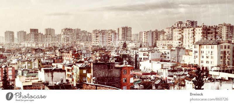 hazy adana Turkey Asia Town Downtown Populated Overpopulated House (Residential Structure) High-rise Tower Manmade structures Building Wall (barrier)