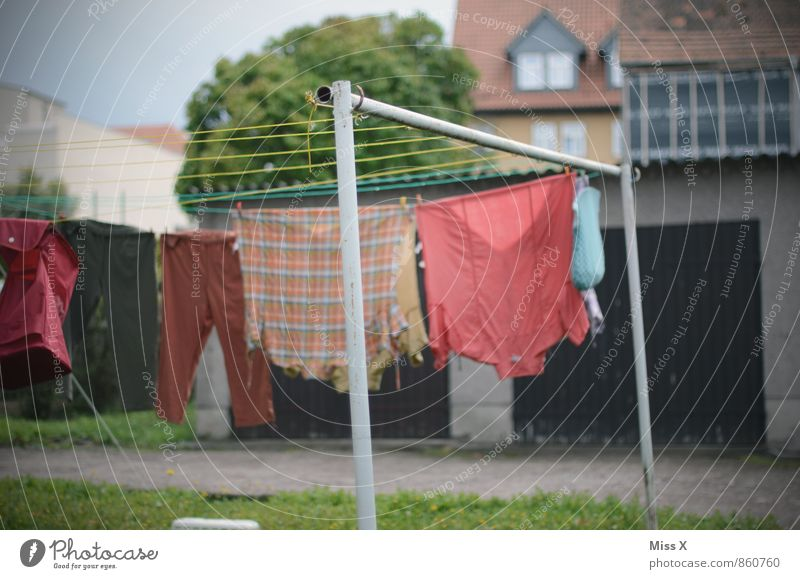 do the dirty laundry Living or residing Garden Clothing Shirt Wet Clean Dry Cleanliness Washing Clothesline Colour photo Exterior shot Deserted