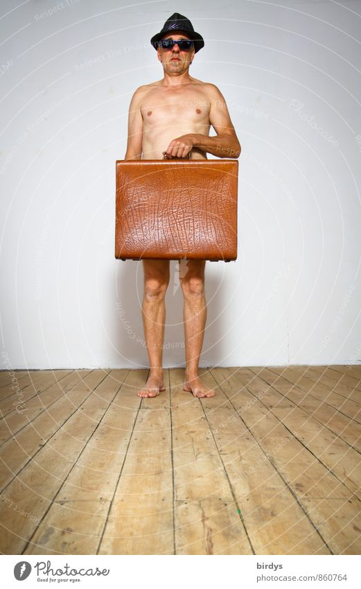 """Naked man only with hat, sunglasses and an old suitcase Man Adults Male senior 1 hartz4"""" Human being 45 - 60 years 60 years and older geriatric poverty"""