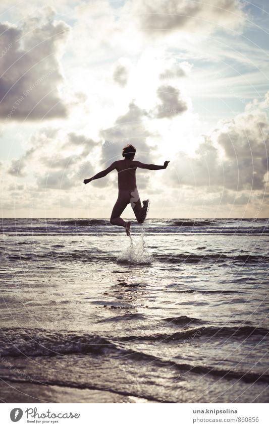 springinsmeer Summer Summer vacation Man Adults 1 Human being 30 - 45 years Clouds Waves North Sea Ocean Jump Free Naked Natural Crazy Joy Happiness