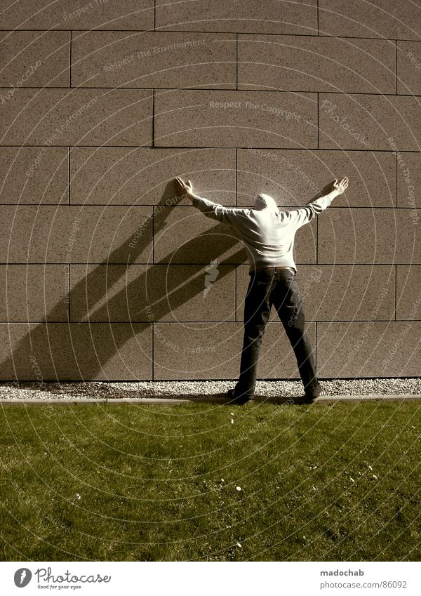 Human being Nature Man Old Green Hand Wall (building) Meadow Grass Background picture Wall (barrier) Playing Gray Stone Line Arrangement