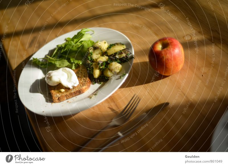 first breakfast Food Vegetable Lettuce Salad Apple Bread Herbs and spices Breakfast Vegetarian diet Cutlery Life Living or residing Table Wood Eating Appetite