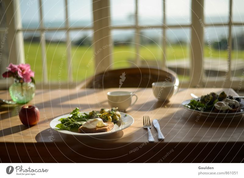 second breakfast Food Vegetable Salad Apple Bread Coffee Herbs and spices Breakfast Vegetarian diet Cutlery Life Living or residing Table Wood Healthy Eating
