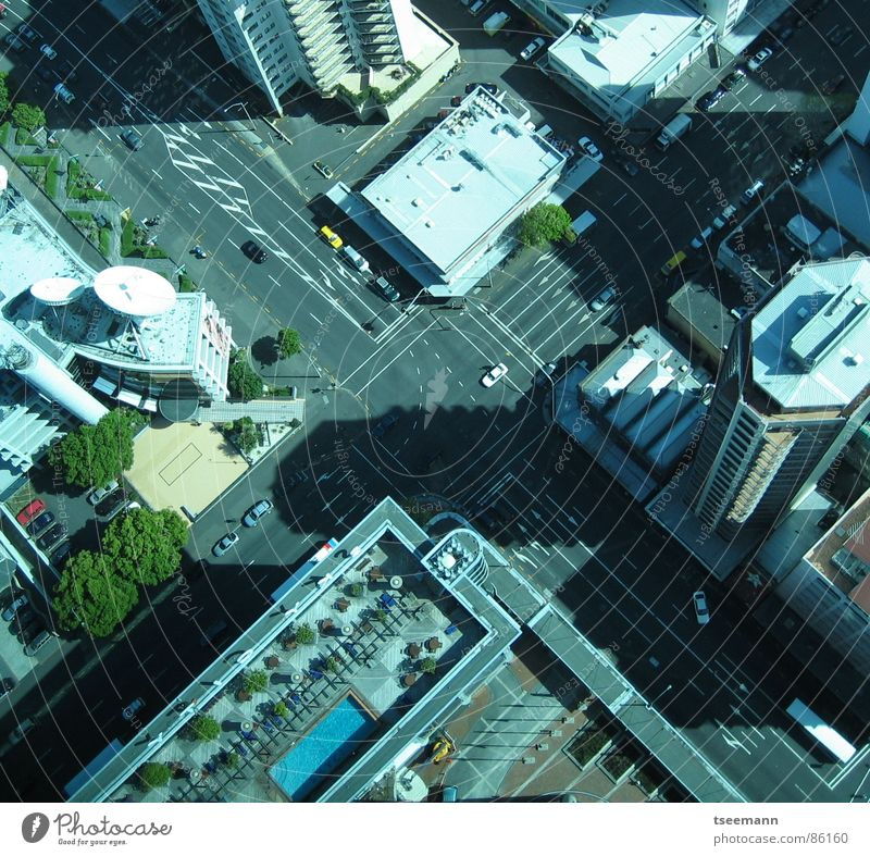 Urban X-ing Auckland Town High-rise Transport New Zealand Crossroads Traffic infrastructure crossing traffic cars buildings Car Street
