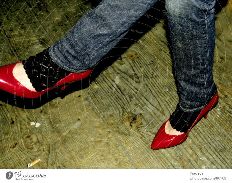 kiss my shoes baby Woman Feminine Lady Decline Red Footwear Stockings High heels Jeans Denim Parquet floor Easygoing Club concur red shoes Sit sitting legs