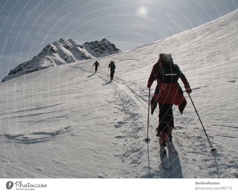 loner Winter Altitude rush Hiking Sunlight Winter sports Ski tour Sports Snow Mountain Glacier Ice Frost Skiing Skis Individual Gap Loneliness Far-off places