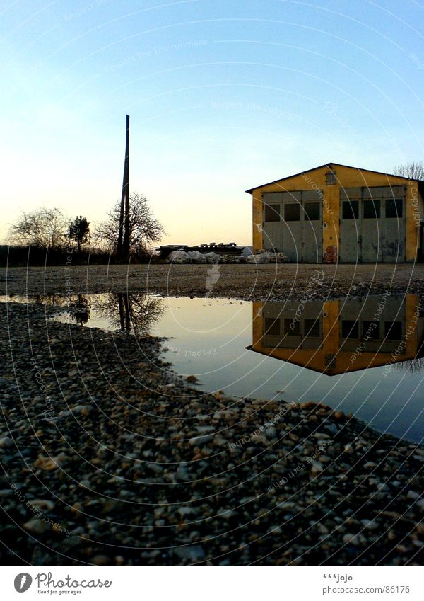 Water Sky House (Residential Structure) Yellow Colour Stone Speed Idyll Gate Gravel Barn Puddle Double exposure Symmetry Rural