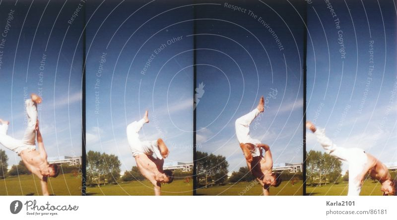 Capoeira Moves Philosophy Beautiful weather Acrobatics Playing 4 photos in one green meadow Power