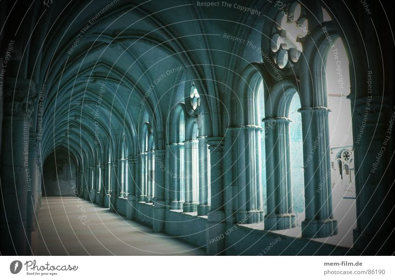 cloister Ancestors Monument Historic Hallway Passage Gothic period Nun House of worship Secularization Diocese Convent Preservation of historic sites Black Dark