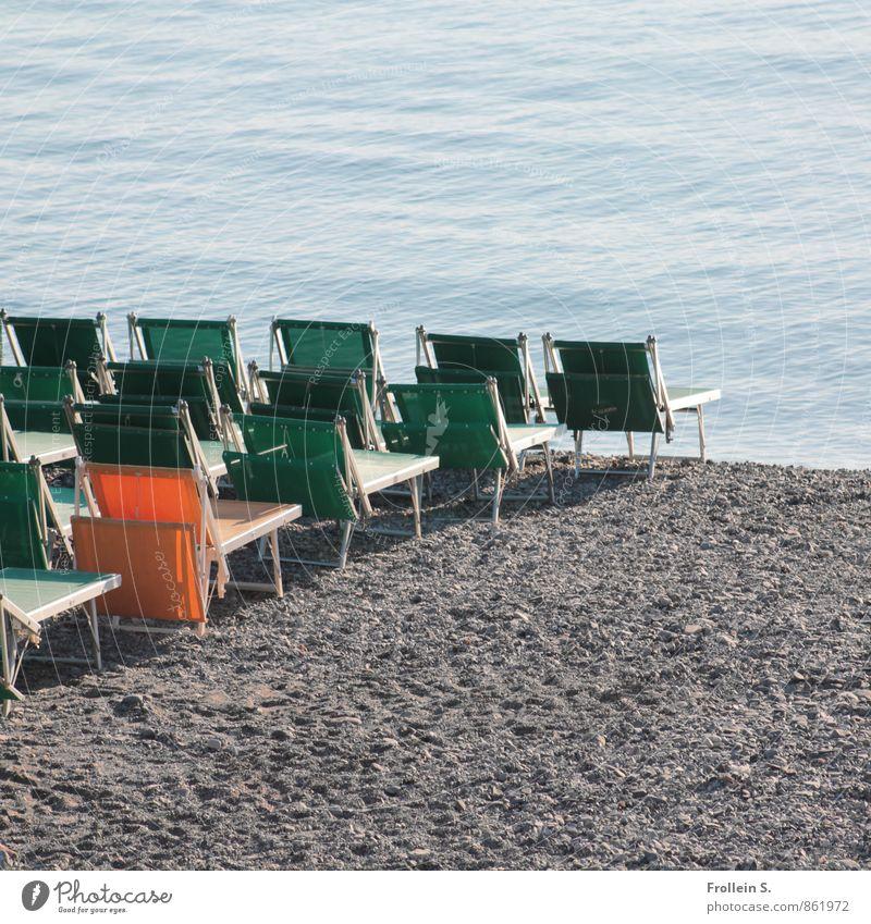 individual tours Mass tourism Vacation & Travel Tourism Summer vacation Sunbathing Beach Ocean Chair Water Folding chair Deckchair Row of seats Sand Maritime