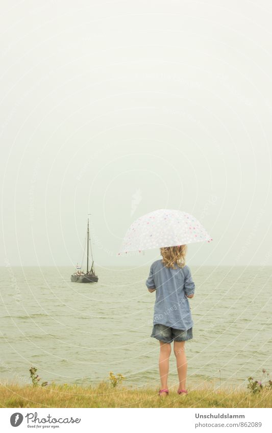 coming home Tourism Far-off places Summer Human being Girl Infancy Life 1 3 - 8 years Child Weather Bad weather Rain Coast Navigation Sailing ship Umbrella