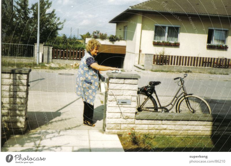 house Retro Style Wall (barrier) Bicycle New start Hope Neighbor Woman Garden fence Gray Air Joy hungry GDR Breathe Hopelessness Morning
