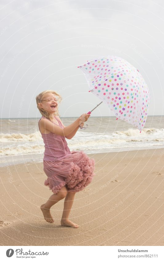 Human being Child Vacation & Travel Summer Ocean Girl Joy Beach Life Movement Playing Happy Laughter Bright Pink Lifestyle