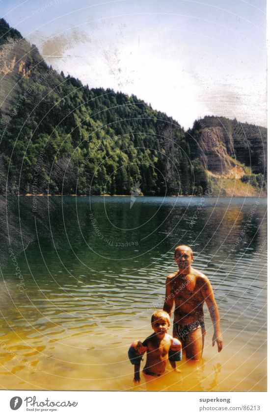 lake Lake Seventies The eighties Retro Style Love Wall (barrier) New start Hope Neighbor Woman Garden fence Gray Air Forest Pure Sixties Old Joy paternal love