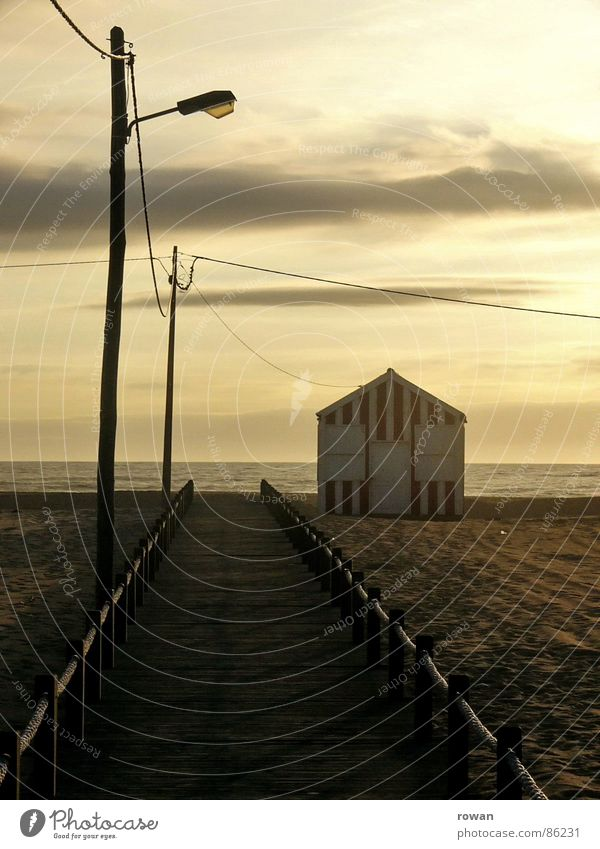 to the sea ..3 Hut Bad weather Green Yellow Ocean Wood Small Footbridge Pedestrian Sunset Light House (Residential Structure) Striped Beach hut Red Wooden house