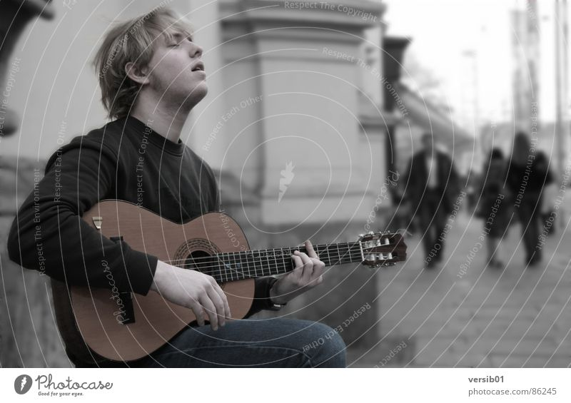 passion Busker Passion Graz Music Joy Song Make music Playing Concert Herrengasse musical drama Guitar Loneliness Energy industry Enthusiasm Musical instrument