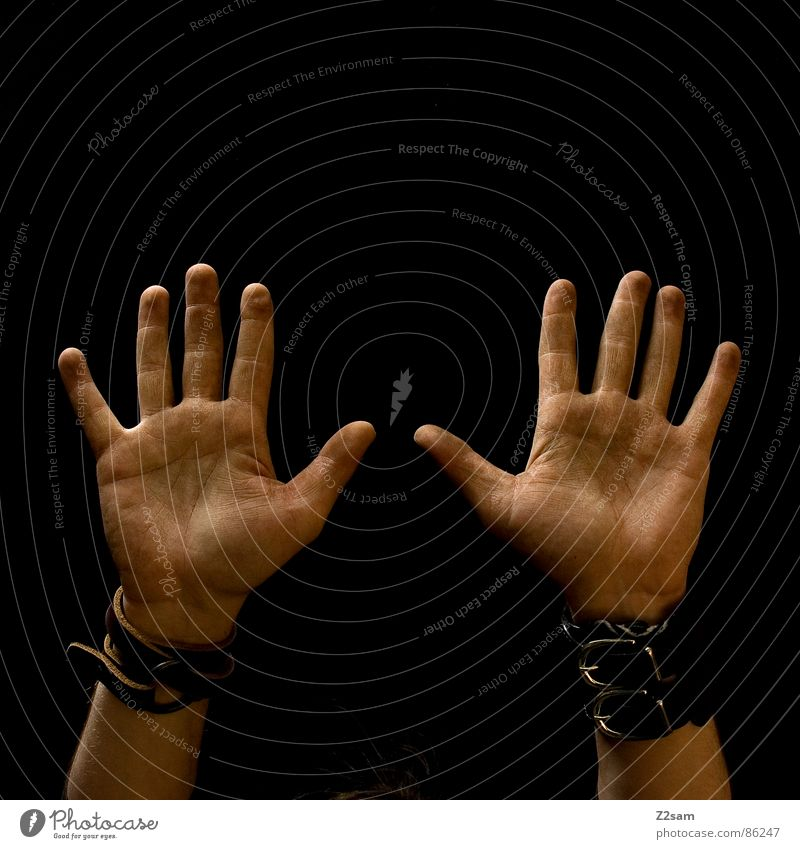 Human being Man Hand Black Style Arm Dirty Tall Fingers Traffic infrastructure Upward 10 Limbs Palm of the hand Side by side