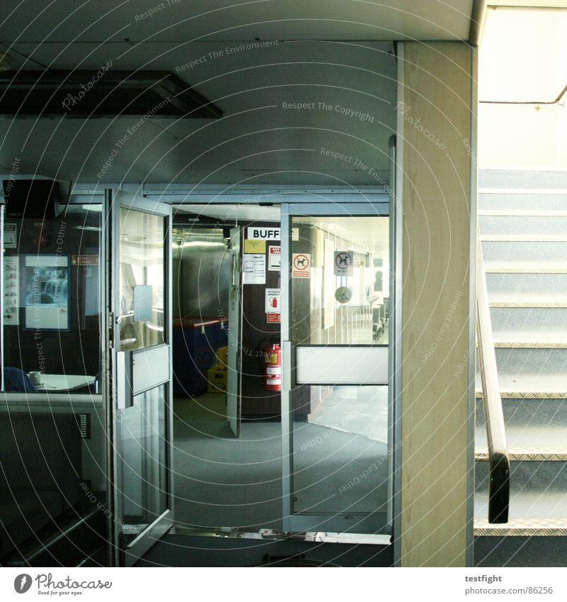 Loneliness Wall (building) Gray Brown Watercraft Door Glass Stairs Dirty Empty Smoking Trash Café Trashy Window pane Escape
