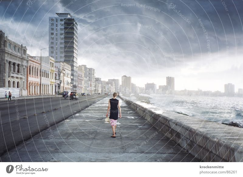 Woman Ocean Vacation & Travel Clouds Loneliness Far-off places Street Dream Traffic infrastructure Going Weather Transport Walking Horizon Leisure and hobbies