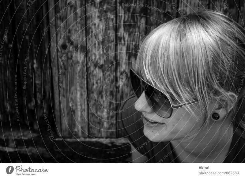 Black&White Style Cool (slang) Brash Free Hip & trendy Trashy Sunglasses Blonde Earring Subculture Piercing Joy Art nouveau Woman Scene Youth culture Lifestyle