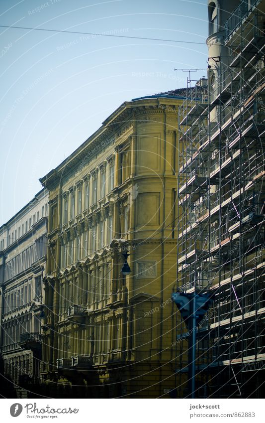 Front side south, street in Prague Construction site World heritage Cloudless sky Downtown Old town Building Facade Corner Scaffold Authentic Elegant Historic
