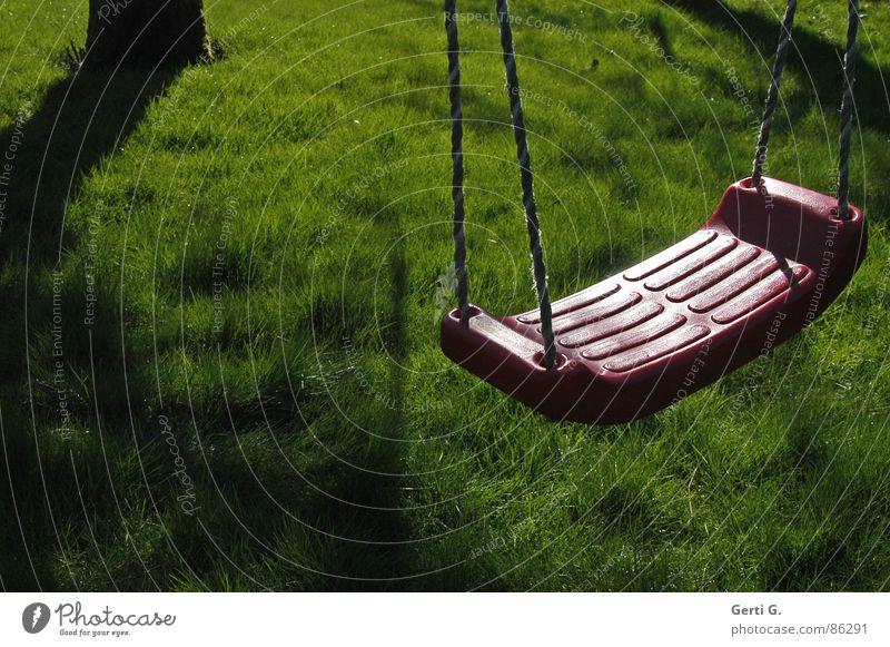Red Loneliness Calm Dark Meadow Playing Lanes & trails Garden Fear Dangerous Empty Lawn Gale Tree trunk Doomed Swing