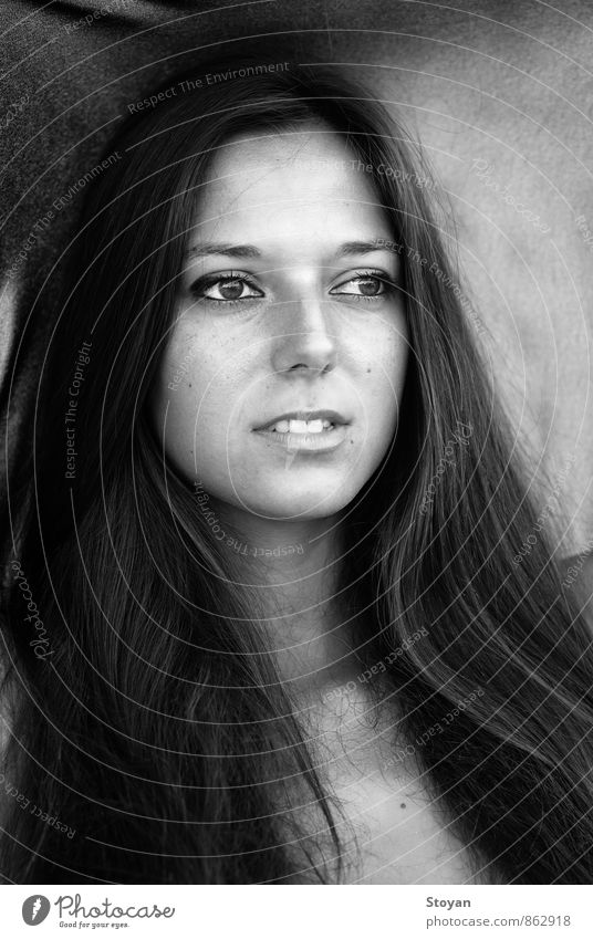 Black and white portrait of Bulgarian woman (fashion) Human being Woman Youth (Young adults) White 18 - 30 years Face Adults Eyes Think Art Hair and hairstyles