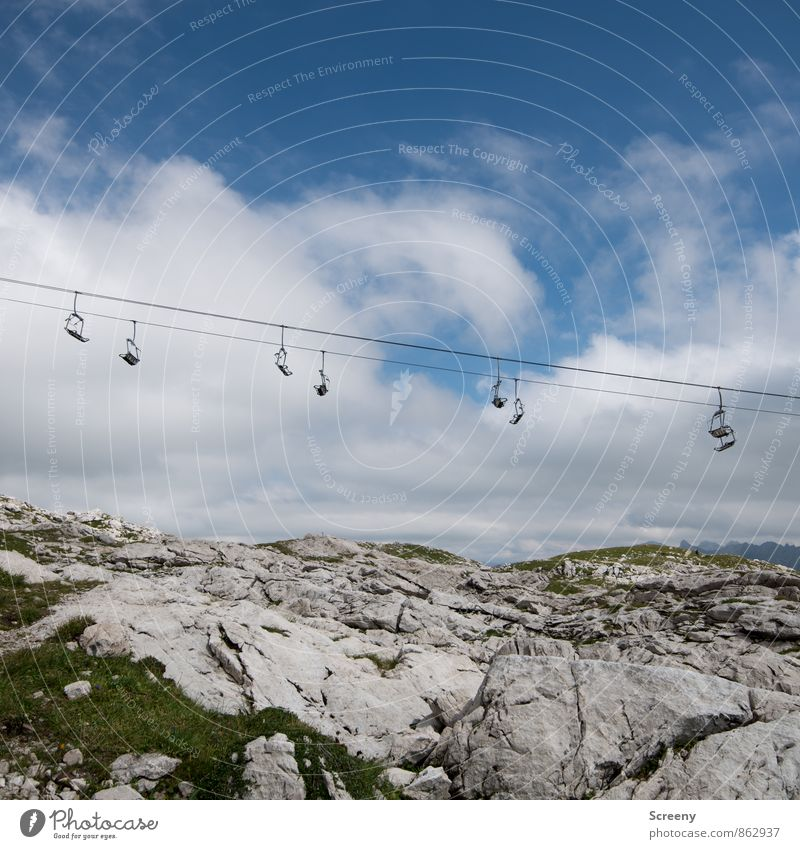 hang out Vacation & Travel Tourism Trip Summer Mountain Hiking Nature Landscape Sky Clouds Beautiful weather Grass Alps Nebelhorn Cable car Hang Tall Blue Gray