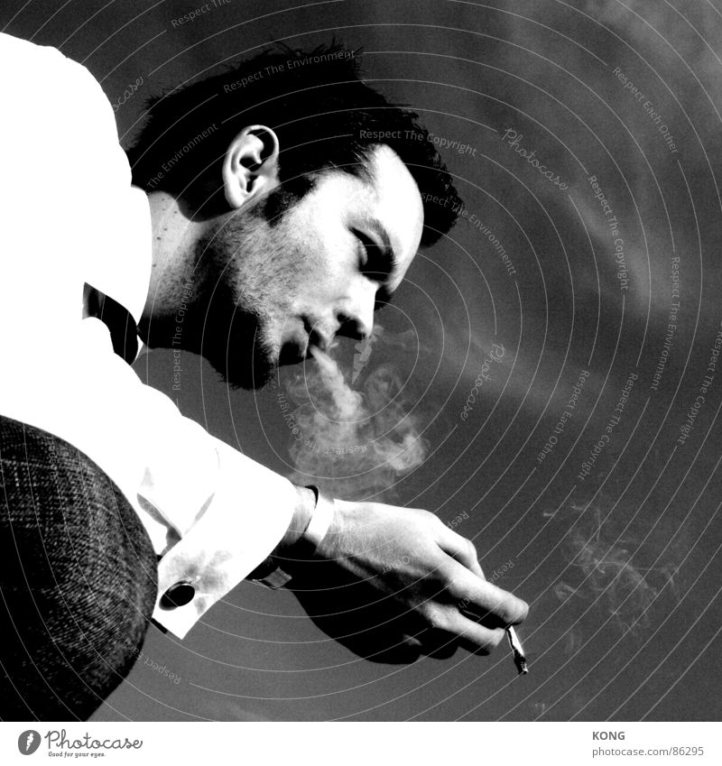 blow Cigarette Portrait photograph Cool (slang) Easygoing Smoke Smoking Blow Be quiet! Flexible Cold Serene Black & white photo Man homemade Contrast Gloomy
