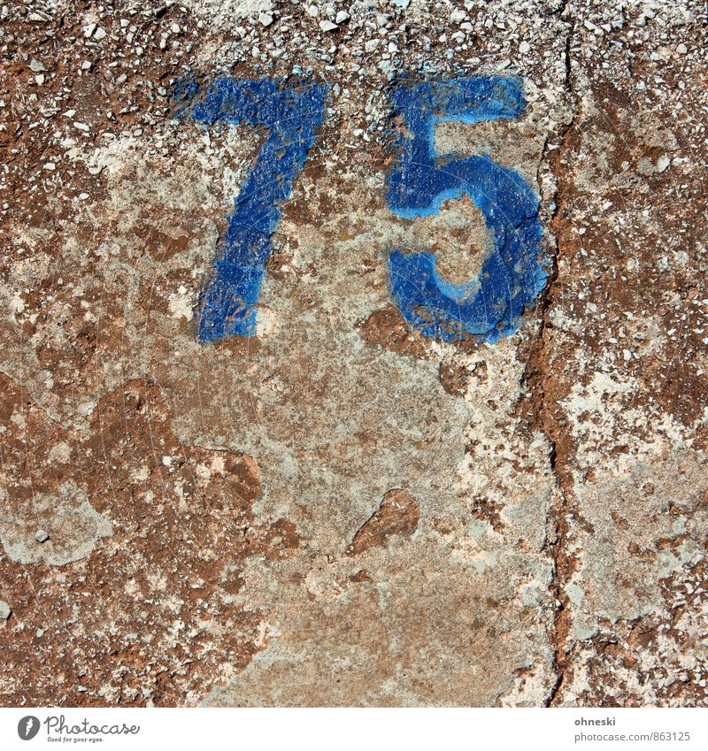 GE Stone Concrete Digits and numbers Blue Town 75 Birthday Old Jubilee Colour photo Exterior shot Pattern Structures and shapes Copy Space bottom