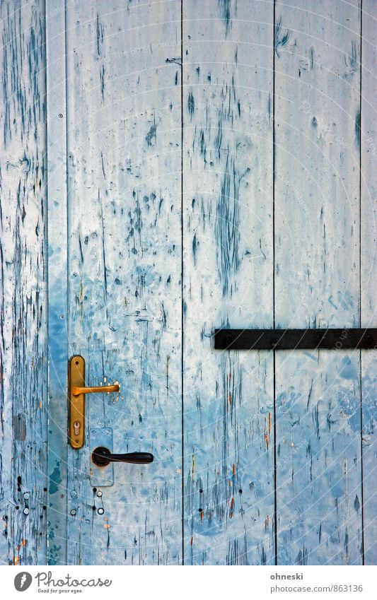 entrance Door Door opener Door lock Wood Blue Living or residing Old Colour photo Exterior shot Pattern Structures and shapes Copy Space top Copy Space middle