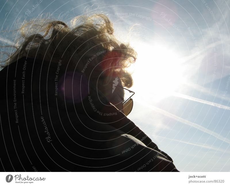EK silhouette incognito Woman Adults Head Sky Beautiful weather Wind Jacket Sunglasses Curl Observe To enjoy Friendliness Trust Serene Patient Senses Dazzle