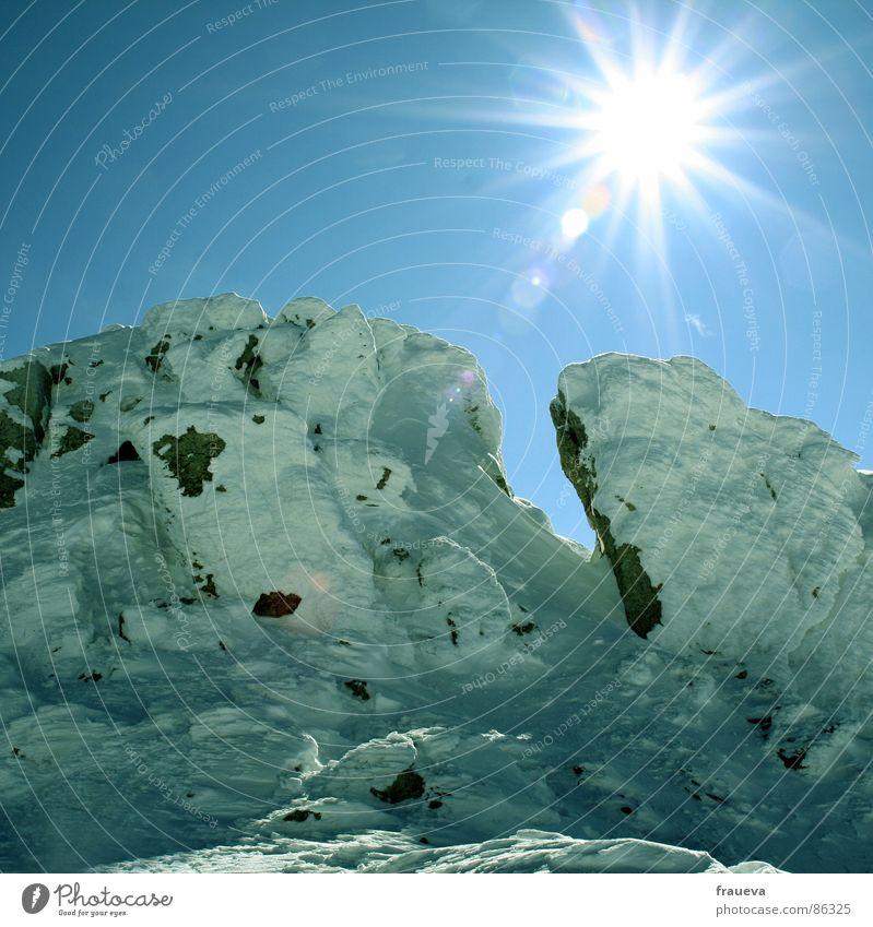 Sky Sun Winter Snow Mountain Glittering Level