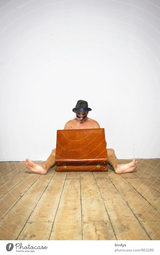 Naked man looking for something in an old suitcase Vacation & Travel Flat (apartment) Moving (to change residence) Young man Youth (Young adults) Man Adults 1