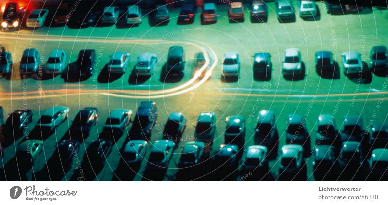 change of parking Night Long exposure Parking lot Light Driving Movement Rear light Traffic infrastructure Car