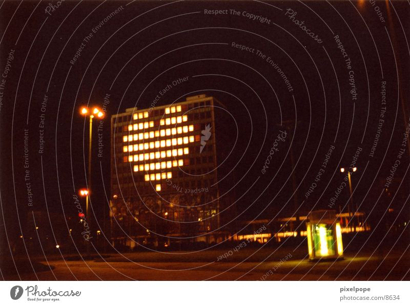 Love is in the air Night House (Residential Structure) High-rise Club Berlin blinkenlights Heart