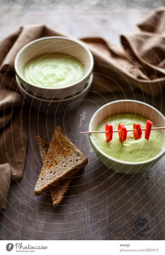 cold avocado soup Vegetable Bread Soup Stew Nutrition Organic produce Vegetarian diet Diet Bowl Fresh Healthy Delicious Green Avocado Colour photo Interior shot
