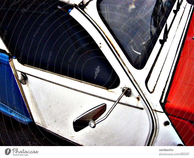 duck Second-hand cars Tricolor Vintage car Transport 2CV Car Blue White Red Multicoloured Car door Rear view mirror Windscreen Classic Characteristic Patriotism