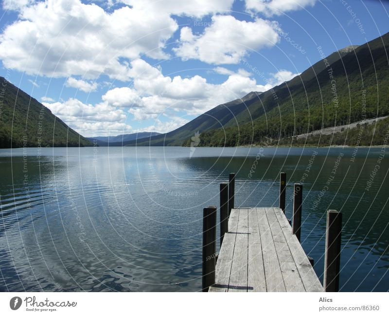 Lake Rotoiti, New Zealand Footbridge Calm Clouds Peace Mountain Water Deep stud bolt Lanes & trails