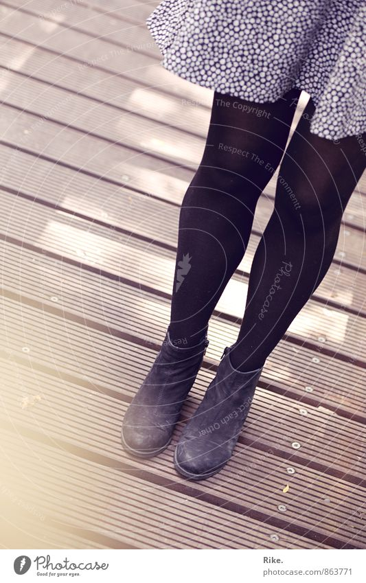 Hold it right there. Lifestyle Human being Feminine Young woman Youth (Young adults) Adults Legs 1 18 - 30 years Autumn Fashion Clothing Skirt Dress Footwear