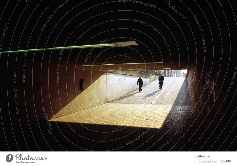 Light and shadow Threat Tunnel Loneliness Pedestrian Traffic infrastructure Shadow Human being Duesseldorf