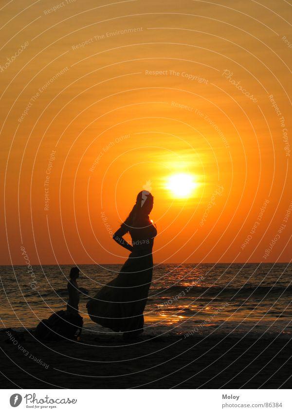 beach girl Sunset Goa India Dusk Ocean Indian Ocean Romance Vacation & Travel Bathing place Leisure and hobbies Beautiful Summer