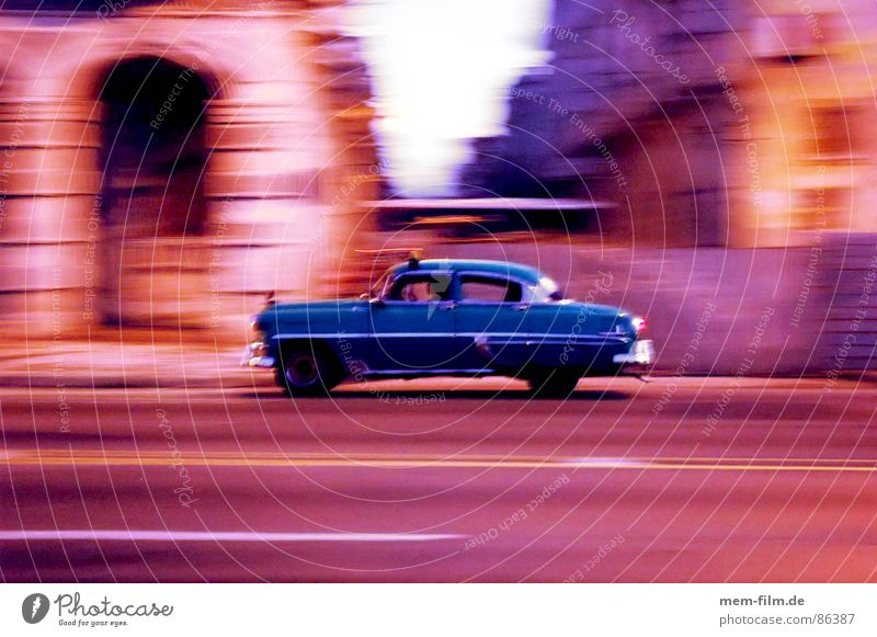 havana racing Communism Cuba Havana Vintage car Past Empty Forget El Malecón Night Motion blur Long exposure Brake light Floodlight Socialism Evening Sunset