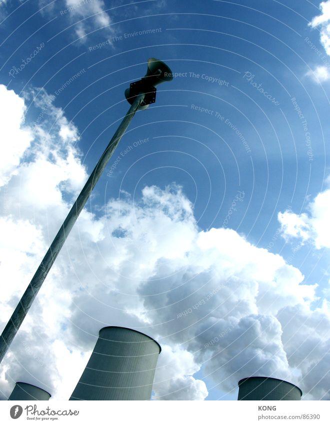 esteem Worm's-eye view Megaphone Loudspeaker Alarm Sky Clouds Warning signal Weather Industry Power Force a la rodschenko Tower Steam Blue sky Respect